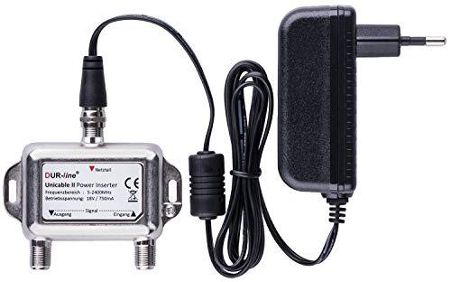 DUR-line DPI + Netzteil - Power Inserter Set - 18V Einspeise-Weiche mit F-Anschluss für SAT Unicable dCSS SCR LNBs & Schalter - [Spannungseinspeise-Adapter, Fernspeiseweiche, Stromeinspeiseweiche]