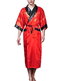 747d4437cab XueXian(TM) Mens Chinese Dragon Embroidery 3 4 Sleeves Long Style Kinomo  Nightgown