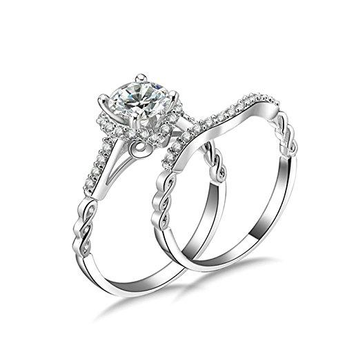 Anazoz fedine nuziali argento 6.5mm taglio rotondo 1 carat cubic zirconia incisione gratuita anello donna elegante misura 11