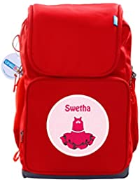 UniQBees Personalised School Bag With Name (Active Kids Medium School Backpack-Red-Frills)