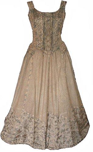 Dark Dreams Kleid Mittelalter Gothic Schnürung Audry schwarz rot grün braun weiß 36 38 40 42 44 46, Größe:L/XL, Farbe:braun