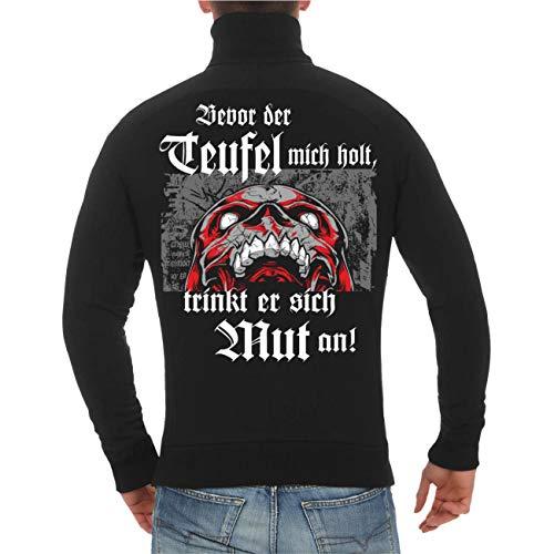 und Herren Sweatjacke La Familia Bevor der Teufel Mich Holt trinkt er Sich Mut an (mit Rückendruck) Größe S - 10XL ()