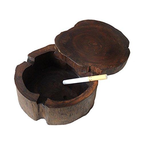 SDKKY Cenicero cenicero de madera con tapa de madera del Sudeste Asiático creativas decoraciones SPA,5 pulg.