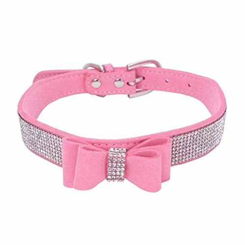 Hmeng Hundehalsband, Hunde Katze Welpen Bowknot Diamant Strass Halsband Halsbänder Verstellbar Halskette für Haustier Hunden Katzen (XS, Rosa) -