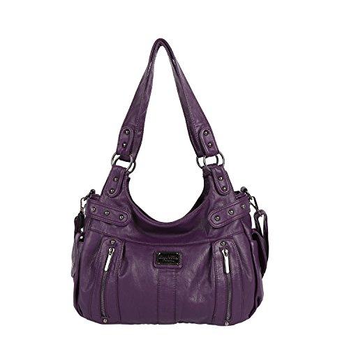Angel Barcelo Frauen Top Griff Satchel Geldbörsen und Handtaschen Schultertasche Multi Cross Body Bag Zwei Reißverschluss Design Geldbörse (Purple) -