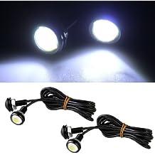 Sonline 4X Bombilla Lampara Trasera Ojo aguila Luz Blanco 3W 12V LED Coche