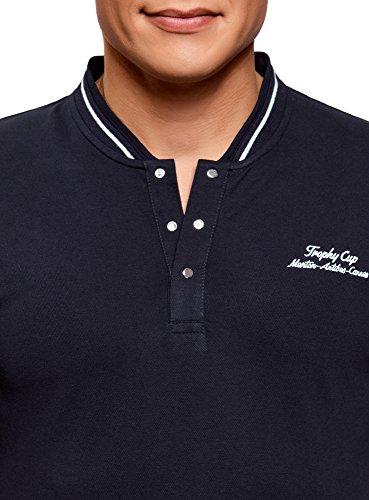 oodji Ultra Herren Poloshirt mit Stehkragen und Knopfverschluss Blau (7910P)