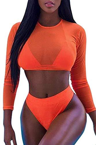 OUDIYA Bikini Set Damen Cover up Sommer Zweiteiliger Badeanzug Strandkleider Bademode+Cover up