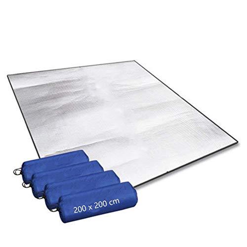 Aehma Alu Isomatte Schaummatten 200x200 cm Isoliermatte Isolierdecke Faltbare Zeltmatte Bodenmatte Thermomatte Schlafmatte für Camping Matte aus Aluminiumfolie, Ultraleicht