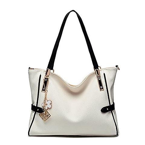 Handtasche PU Shopper Tasche Schultertasche Henkeltasche für Schule Reisen Arbeit und Einkäufe Weiß