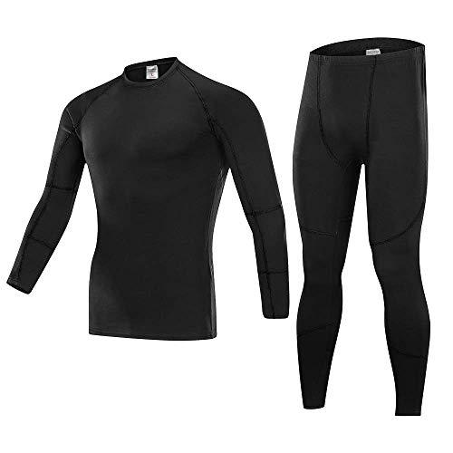 YiLianDa Uomo Maglietta Termica Set Biancheria Intima A Maniche Lunghe E Pantaloni Lunghi