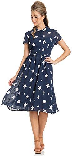 Voodoo Vixen Kleid Mary Under-The-Sea Printed Swing Dress 8491 Blau S
