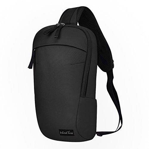 Mardingtop Schulterrucksack Tactical Sling Bag Crossbody Tasche Brusttasche für Wandern Reisen Multipurpose Daypack (Schwarz-6177)