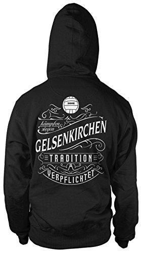 Mein Leben Gelsenkirchen Männer und Herren Kapuzenpullover | Fussball Ultras Geschenk | M1 FB (XXXXL, Schwarz)