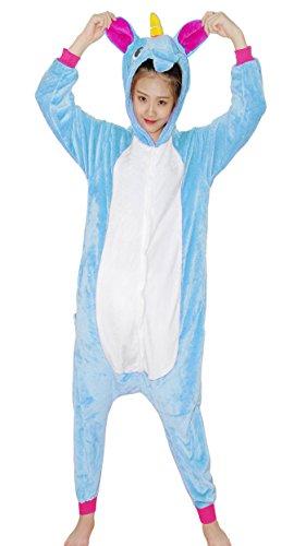 Imagen de chicone unicorn kigurumi pijamas unisexo adulto traje disfraz animal adulto animal pyjamas traje disfraz de halloween, blue, m height 160 169cm  alternativa
