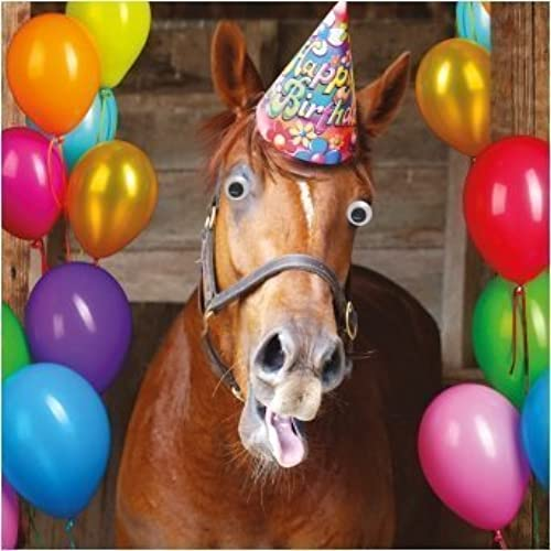 Horse birthday card amazon funny horse party hat balloons birthday card goggly 3d moving eyes bookmarktalkfo Image collections