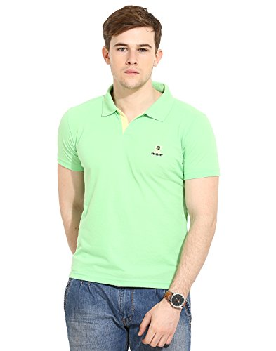 Duke Stardust Casual T-Shirt for Men Polo Collar Cotton Blend Material Half Sleeves Light Green color Smart Fit  available at amazon for Rs.335