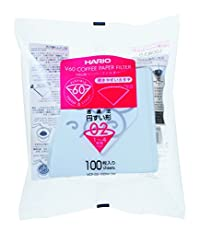 Hario VCF-02-100W-J 100 Count Paper Filter for 02 Dripper with TAB, White