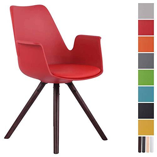 CLP Esszimmerstuhl Prince Kunststoff Rund I Sitzpolster mit Kunstlederbezug I Besucherstuhl mit runden Buchenholzgestell Rot, walnuss