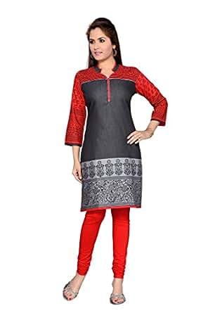 F-Loop Women Denim Stitched Kurtis (148-A-XXL_Black_XX Large Size)