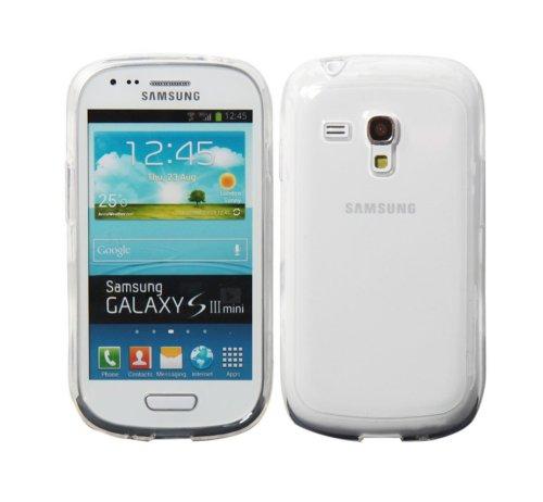 Luxburg® See-Through Schutzhülle für Samsung Galaxy S3 Mini GT-I8190 in Farbe Schwarz, Hülle Case aus TPU Silikon Crystal Weiß