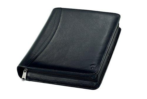 Chronoplan 50173 Organizer Vollrindleder (Terminplaner A5 mit Reißverschluss, Ringbuch) schwarz