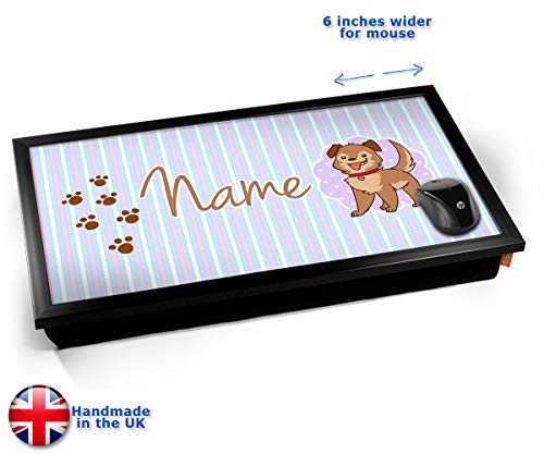 Puppy Personalised Childrens Name Cushioned Bean Bag Laptop Lap Tray Desk - Built-in EMF Shield...