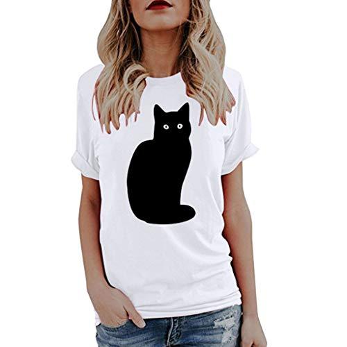 iYmitz Damen Mode Lose Oansatz Spitze Rundausschnitt Art- und Weise Frauen Kurzarm Herz T-Shirts Drucken Tops Bluse Shirts(C-WeißEU-36/CN-M) - Braune Fransen-jacke