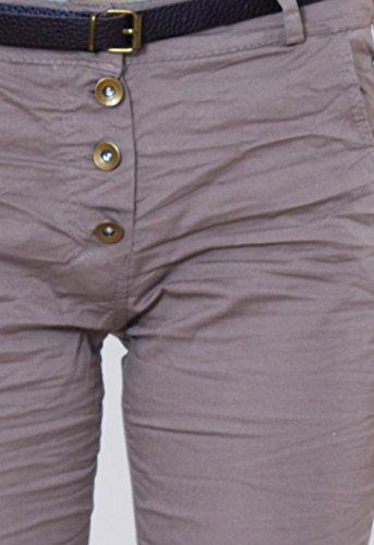 CASPAR Damen Herbst / Winter Crushed Boyfriend / Baggy Stoff Hose mit Knöpfen MADE IN ITALY - viele Farben - JNS002 Dunkelbraun