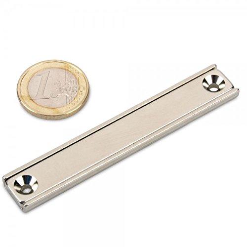 Neodym Flachleiste 80 x 13 x 5 mm mit Bohrung und Senkung - 24 kg Leistenmagnet schraubbar länglich sehr stark Werkstattmaget U-Profil Haltemagnet -