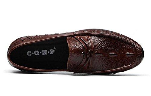 Men Slip-On Oxford Casual Chaussures respirantes respirantes Chaussures pour hommes Chaussures décontractées coréennes Chaussure en cuir d'autruches de chaussures en cuir Brown