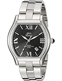 gino franco Men's 937CH Cushion Shaped Stainless Steel Bracelet Watch
