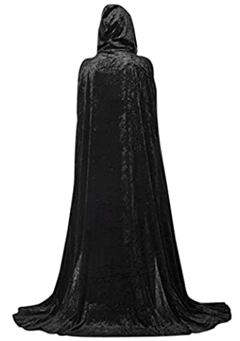 Extra Long Halloween Cape for Adults Black Hooded Cloak Coat Long Wicca Robe with Floor Length Devil Cosplay Costume Party Dress