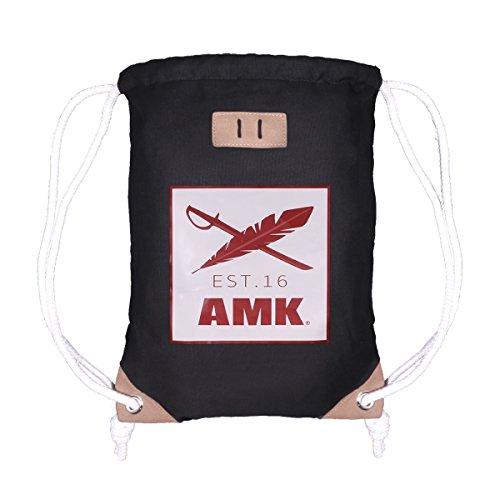 AMK Originals Turnbeutel Gym Bag Sack Rucksack Sportbeutel Tasche Canvas Hipster Unisex Damen Herren, Farbe:AMK Originals White -