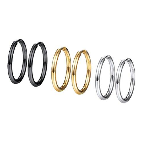 3 Piezas Conjunto Pendientes Aro Mujer 20mm Dorado