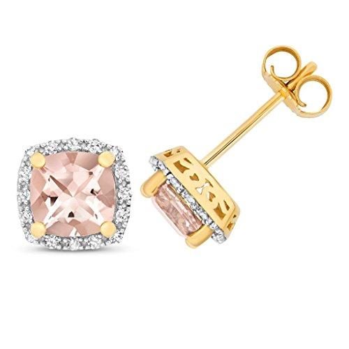 9ct Gelb Gold 0,16CT Diamant & Kissen Schnitt Rosa Morganit 6mm Ohrstecker (Moderner Runder Schnitt)