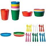 Ikea Set da tavola, modello Kalas, con posate, piatti, ciotole e bicchieri, 36 pezzi