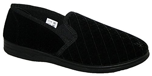 MENS SLIPPERS, SLIP ON WITH TWIN SIDE GUSSETS BLACK 8