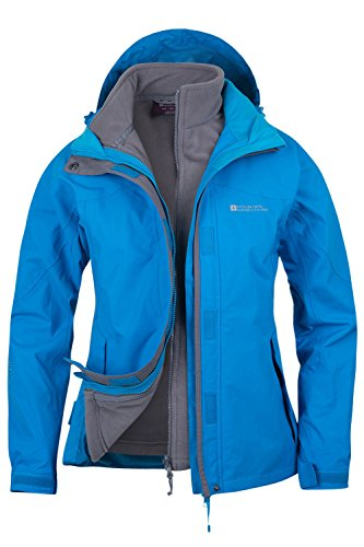 Mountain Warehouse Damen Storm 3 In 1 Wasserdichte Regenjacke Fleece Mantel Jacke Neu Multifunktionsjacke Regenjacke Türkis DE 42 (EU 44)