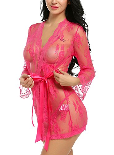 Avidlove Damen Sexy Dessous Spitze Negligee Kurz Kimono Robe Set Nachtwäsche mit Gürtel und G-String Bikini Cover Up Rosarot
