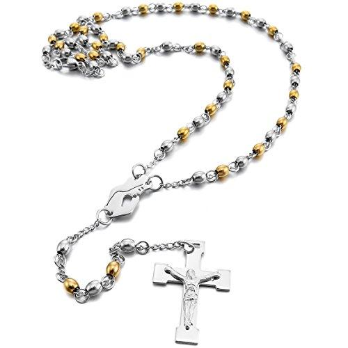 MunkiMix Acciaio Inossidabile Pendente Ciondolo Collana Argento Oro Vergine Maria Jesus Gesù Cristo Crocifisso Croce Perline Rosario Retro 22 Pollici Catena Catenina Uomo,Donna