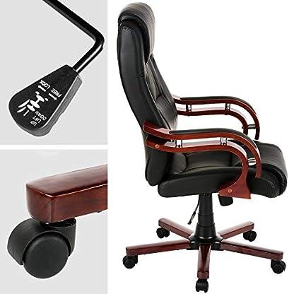 TecTake Silla de escritorio de oficina, de cuero sintético, color herrumbre
