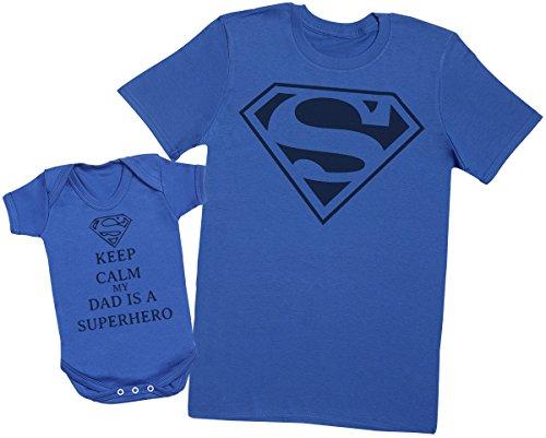 Keep Calm Dad is A Super Hero - Ensemble Père Bébé Cadeau - Hommes T-Shirt & Body bébé - Bleu - Large & 3-6 Mois