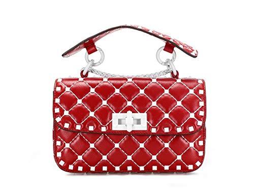 ZJWZ High-End-Mode-Schaffell Handtaschen Schulter Diagonale Kette kleine quadratische Tasche, Damen Niete Geldbörse Karte Tasche Kupplung,RedSmall -