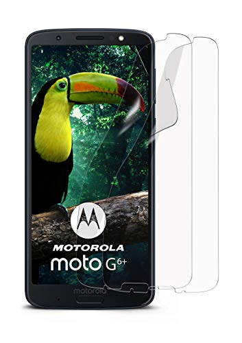 moex 2X Motorola Moto G6 Plus | Schutzfolie Klar Bildschirm Schutz [Crystal-Clear] Screen Protector Display Handy-Folie Dünn Bildschirmschutz-Folie für Motorola Moto G6 Plus Bildschirmfolie