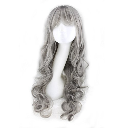 Grand-mère gris longue perruque Qi Liu maïs chaud