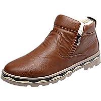 LuckyGirls Botas de Nieve de Media Caña Zapatillas Cuero Casual Hombres Vintage Moda Cómodas Calzado Andar Zapatos Planos Bambas Botitas con Cierre