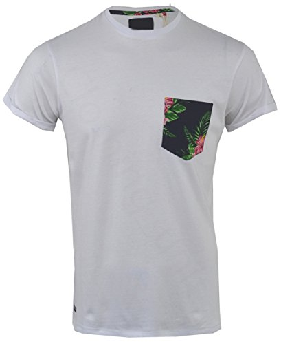 Threadbare Herren T-Shirt, Geblümt White Tiki Pocket