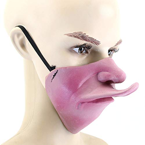 Halloween Kostüm Party Latex Lustige Halb-Gesicht-Maske,2 ()