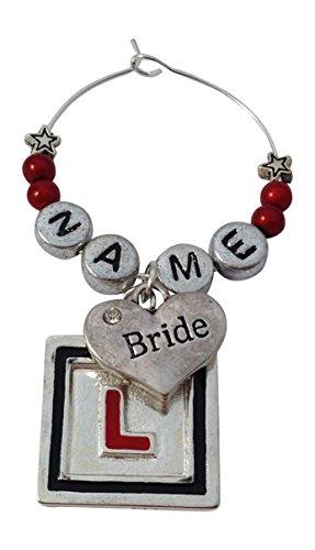 Personalisierte Braut–Hen Party Wein Glas Charme mit, Charme wird in einem Organza Geschenk Tasche von Libby 's Market Place